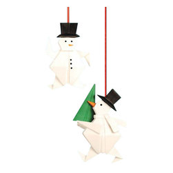 Folded Snowmen Ornaments - Set of 2 - These snowmen ornaments are a charming addition to your Christmas tree or holiday decor. Crafted out of porcelain, they have a jaunty spirit all their own. Let them bring their holiday cheer to your home.