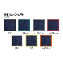 Apt2B.com - Blackburn 2Pc Sectional Navy Request A Sample Of Fabric Swatches - With a classic silhouette, this Kyle Schuneman sofa is a great mix of modern and traditional with beautiful color combos and a contrasting piping and natural wood legs.