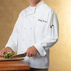 "Exposures - Personalized Chef Jacket - Overview ""Look like your favorite celebrity chef with this personalized chef jacket. Our personalized chef coat makes a wonderful gift for people who love to cook at home, as well as aspiring professional chefs. Features Double-breasted custom chef jacket Cloth knot buttons  Stand-up collar Vented roll-up sleeves Thermometer pocket Professional gauge fabric  7 oz 65% poly/35% cotton embroidered chef jacket Machine wash  "" Personalization  Embroidered black script Above the chest pocket  1 line, up to 15 characters No returns on personalized items unless the item is damaged or defective Specifications  Unisex sizes, order by chest measurement: M (40""-42""), L (44""-46""), XL (48""-50""), 2XL (52""-54""; 2XL add $5)   Shipping  Allow an additional 2-3 days for personalized items"