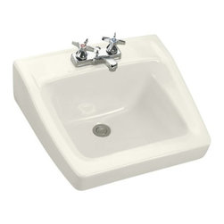"""KOHLER - KOHLER K-1728-96 Chesapeake Wall-Mount Lavatory w/ 4"""" Centers, 19-1/4"""" x 17-1/4"""" - KOHLER K-1728-96 Chesapeake Wall-Mount Lavatory with 4"""" Centers, 19-1/4"""" x 17-1/4"""" in Biscuit"""