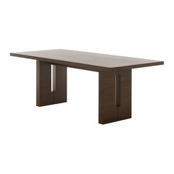 """Nuevo Living - Nico Large Tan Walnut Dining Table by Nuevo - HGEM259 - The Nico Dining Table is crafted with MDF core construction and is covered in either a beautiful American Walnut or American Oak veneer. In addition to the choice in finish, Nico is also available is two generous sizes. The 79"""" long Nico easily seats eight, and the expansive 94"""" version is perfect for ten! For those that appreciate natural materials and beautiful furniture design, Nico has a model for you."""