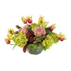 Covered In Style Inc - Mixed Passion Arrangement - Yum! Apples and grapes hide tucked between thick, lush blooms. Gathered in a reflective glass container, this lively arrangement will look right at home on the table in your breakfast nook.