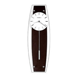 Howard Miller - Howard Miller - Cyrus Wall Clock - Resplendent in black, white and silver, this sleek and stylish pendulum wall clock features a flat glass facing that reveals a Wenge-look black coffee finished back panel highlighted with brushed nickel finished accents. A quartz movement ensures reliability and accurate timing. * Studio 24 CollectionA flat glass covers the entire front of this contemporary wall clock, which features a Wenge look black coffee finished back panel with brushed nickel finished accentsThe white dial offers raised markers and straight hands, all with a brushed nickel finishThe cylindrical pendulum, finished in brushed nickel, complements the dialQuartz, battery operated movement23 in. H x 7.5 in. W x 2.75 in. D