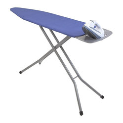 "Home Products - Premium 4 Leg Ironing Board - HOMZ Premium Blue Heavy Duty 4-Leg mesh top ironing board for improved steam flow and stability. Includes a removable iron rest/shirt hanger which slides in for storage. The patented leg lock insures easy transport while fully variable height adjustments to 40-"" for any comfort. Made in USA."