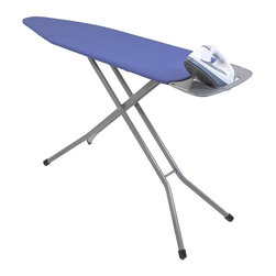 "Home Products - Premium 4-Leg Ironing Board - HOMZ Premium Blue Heavy Duty 4-Leg mesh top ironing board for improved steam flow and stability. Includes a removable iron rest/shirt hanger which slides in for storage. The patented leg lock insures easy transport while fully variable height adjustments to 40-"" for any comfort. Made in USA."