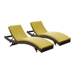 "LexMod - Peer Chaise Outdoor Patio Set of 2 in Brown Peridot - Peer Chaise Outdoor Patio Set of 2 in Brown Peridot - Dont let moments of relaxation elude you. Peer is a serenely pleasant piece comprised of all-weather cushions and a rattan base. Perfect for use by pools and patio areas, chart the waters of your imagination as you recline either for a nap, good read, or simple breaths of fresh air. Moments of personal discovery await with this chaise lounge that has fold away legs for easy storage or stackability with other Peer lounges. Set Includes: Two - Peer Outdoor Wicker Chaise Modern Outdoor Chaise Lounge, Synthetic Rattan Weave, Machine Washable Cushion Covers, Powder Coated Aluminum Frame, Water & UV Resistant Overall Product Dimensions: 78""L x 27.5""W x 48.5""H Daybed Dimensions: 78""L x 27.5""W x 33""H Seat Height: 15.5""HBACKrest Height: 33""H - Mid Century Modern Furniture."