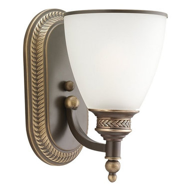 Seagull - Seagull Laurel Leaf - Estate Bronze Bathroom Lighting Fixture in Estate Bronze - Shown in picture: 41350-708 One Light Wall / Bath in Estate Bronze finish with Etched Ripple Glass