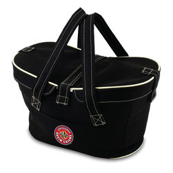 Picnic Time - University of Louisiana Lafayette Mercado Picnic Basket in Black - This Mercado Basket combines the fun and romance of a basket with the practicality of a lightweight canvas tote. It's made of polyester with water-resistant PEVA liner and has a fully removable lid for more versatility. Take it to the farmers market, the beach, or use it in the car for long trips. Carry food or sundries to and from home, or pack a lunch for you and your friends or family to share when you reach your destination. The Mercado is the perfect all-around soft-sided, insulated basket cooler to use when you want to transport a lunch or food items and look fashionable doing it.; College Name: University of Louisiana Lafayette; Mascot: Ragin Cajuns; Decoration: Digital Print; Includes: 1 removable canvas lid
