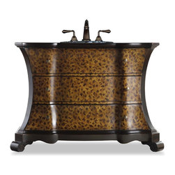"""Cole & Co - Designer Madeleine Vanity - Three drawers. Two of the three drawers are open for storage. Handpainted vanity. Leopard pattern for the drawer fronts along with antiqued brass pulls. Made from hardwood solids. 51.5 in. W x 20.5 in. D x 36 in. H (123 lbs.)There's only one word for the Madeleine Vanity and that is glamorous! Cole + Co. Carlylse or Coventry Drop-in sinks for use with existing wooden top; Cole + Co. Fairfield undermount should you want to add your own granite, marble or quartz top.  (The larger Cole + Co. Hampton undermount may also work, pending front overhang, faucet valve and escutcheon dimensions).  If stone top is preferred, please note on order """"Cut for Granite"""" and our craftsmen will cut a large hole in the top of the vanity prior to shipment so that sink positioning during stone top installation is easier.  Please note all sink recommendations presume a standard 8 in. widespread faucet installation with 1 3/8in. valves and no special placements.  Any and all vanities with custom cuts (including for a specified sink or stone top) are considered a special order, and therefore are non-returnable.  Cole will also cut to your own custom sink presuming it fits.  Just note on the order which sink you will be using.  If we do not have a template for your particular sink, to insure a proper fit, we may require you to send the sink or a template."""