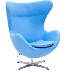 Poly + Bark - Arne Jacobsen Style Wool Egg Chair, Baby Blue - Embracing the organic, timeless shape, of one of nature's most proportional creations, Arne Jacobsen's iconic Egg Chair has harmonized a sensuous, aesthetic form with comfort and functionality. Purpose built for the lobby of the Royal Hotel in Copenhagen in 1958, its influential design has celebrated more than 50 years of pioneering the aesthetics of Modernism. The unique retro construction of this inspirational product has established the Egg Chair as a significant contribution to Nordic design heritage. Sheltered for privacy, its cozy structure integrates the surroundings, making it the focal point of any style-led space. Acting on its iconic image, the Egg Chair has been featured in memorable film productions and has a significant role in the 6th book of the Hitchhiker's Guide to the Galaxy.