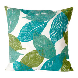 "Mystic Leaf Aqua Print 20"" By 20"" Decorative Throw Pillow - This beautiful indoor / outdoor decorative throw pillow is made of 100% polyester microfiber. The cover has a zipper closure so you can take out the fiberfill inner pillow for hand-washing if you need to. The pillow measures 20 inchs by 20 inches. It looks just as great in your home or on your patio or wherever you want a dash of color."