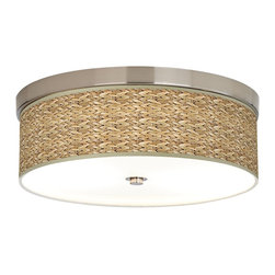 Giclee Gallery - Seagrass Giclee Energy Efficient Ceiling Light - An energy efficient flushmount ceiling light with a giclee canvas shade. This stylish, energy-efficient flushmount fixture features a custom made Giclee style shade with a seagrass pattern printed on high-quality canvas. An acrylic diffuser at the bottom prevents glare from the two included CFL bulbs. The canopy and accents are in a brushed nickel finish. Flushmount style ceiling light. Please note, this shade uses a printed pattern and not actual seagrass. U.S. Patent # 7,347,593.