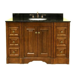 Legion Furniture - 48 in. Single Sink Vanity w Drawers - Includes vanity and granite top. Faucet not included. Two doors. Six drawers. Modular system. Soft close hinges. Pre-drilled 8 in. c.c. faucet hole. cUPC certified porcelain undermount sink. 4 in. backsplash. Made from solid poplar, veneered plywood and MDF. Absolute black granite top. Light walnut finish. Minimal assembly required. Top: 49 in. W x 22 in. D x 0.75 in. H. Left: 12 in. W x 21.5 in. D x 34 in. H. Center: 24 in. W x 21.5 in. D x 34 in. H. Right: 12 in. W x 21.5 in. D x 34 in. H