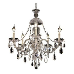 Elegant Lighting - Elegant Lighting 7829D25C Alexandria 5-Light, Single-Tier Crystal Chandelier, Fi - Elegant Lighting 7829D25C Alexandria 5-Light, Single-Tier Crystal Chandelier, Finished in Chrome with Clear CrystalsElegant Lighting 7829D25C Features: