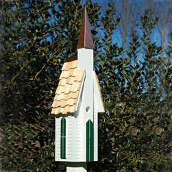 "Plymouth Bird House - White with Copper Steeple - Welcome birds home with the charming solid cypress Plymouth Bird House. This lovely church has clapboard siding and is topped with a gleaming copper steeple. Convenient post pocket mounting requires only a 4"" x 4"" post."