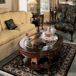 American Drew - American Drew Cherry Grove Coffee Table Set in Antique Cherry - The 45th Anniversary Cherry Grove Collection is a blending of new and old adaptations from 18th century and higher end traditional styling. Georgian, Edwardian, Sheraton along with Queen Anne elements create this beautiful assortment of furniture. Cathedral cherry veneers, alder solids and select hardwoods create a new and exciting collection of bedroom, dining room and occasional for American Drew. Cherry Grove features many new items that have been designed to fill the needs of your home along with many proven winners that have existed since the very beginning. Scale and dimensions have been addresses to better suit today's standard of living. Cherry Grove now offers you a variety of opportunities to complement multiple decorating environments. In the American Drew tradition, attention to detail and exquisite craftsmanship make every piece an heirloom. You will be investing in a timeless piece of furniture that will be cherished for generations to come. - 793-910-3-SET.  Product features: Belongs to Cherry Grove Collection by American Drew; Cocktail Table; Leg Table Type; Oval Table Top Shape; Glass Insert In Top; 1 Fixed Shelf On Bottom; Durable construction; Alder solids and cherry veneers; Select hardwoods; Classic Antique Cherry Color finish; Traditional Style. Product includes: Cocktail Table (1); End Table (1); Console Table (1). Coffee Table Set in Antique Cherry belongs to Cherry Grove Collection by American Drew.