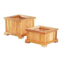 Wood Country Square Cedar Wood Nampa Patio Planter - Those who choose cedar are making an aesthetic and environmentally friendly choice as cedar is beautiful functional and a renewable resource. Vertical segments of cedar create an interesting variation of color and this box sits atop four block feet for better drainage. A wide sill lifts up foliage to catch sun and rain. About Cedar woodCedar wood is lightweight and resistant to both cracking and moisture rot. The oils of this resilient wood guard against insect attack and decay and their distinctive aroma acts as a mild insect repellant. Cedar is a dependable choice for outdoor furniture either as a finished or unfinished wood. Over time unfinished cedar left outdoors will weather to a silvery gray patina. This natural process does not compromise the strength or integrity of the wood. Give your plants room to stretch and showcase their beauty with this cedar planter. SIZE DIMENSIONS: Small Planter Box Dimensions: 21L x 21W x 13H inches Weight: 19 lbs. Large Planter Box 21L x 21W x 17H inches Weight: 26 lbs. About Wood CountryFine handcrafted outdoor furnishings are what Wood Country is all about. They manufacture a complete line of outdoor furniture and accessories made of clear kiln-dried Western Red Cedar. Each piece is hand-crafted and finished with a high quality penetrating oil weather stain. Wood Country is about offering their customers choices allowing them to create their own custom environment perfectly suited to enjoy their leisure time. Customers can choose the styles they like based on family need budget or just personal tastes. Wood Country uses the best materials hardware fabric and finishes they can find. Quality materials combined with Wood Country's talent means you're getting some of the best outdoor furniture available in today's market.