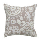 Rizzy Home - Rizzy Home Gray with White Embroidery Decorative Throw Pillow - T04907 - Shop for Pillows from Hayneedle.com! A bold pattern in subtle neutrals this Rizzy Home Gray with White Embroidery Decorative Throw Pillow is the perfect choice for your interior re-do. A sophisticated accent pillow this one has a chambray fabric cover with natural texture and gray color. Its appliqued design in crisp white is accented with gold beading and embroidery work. The pillow features a hidden zipper removable polyester insert and should be spot cleaned only.About Rizzy HomeRizwan Ansari and his brother Shamsu come from a family of rug artisans in India. Their design color and production skills have been passed from generation to generation. Known for meticulously crafted handmade wool rugs and quality textiles the Ansari family has built a flourishing home-fashion business from state-of-the-art facilities in India. In 2007 they established a rug-and-textiles distribution center in Calhoun Georgia. With more than 100 000 square feet of warehouse space the U.S. facility allows the company to further build on its reputation for excellence artistry and innovation. Their products include a wide selection of handmade and machine-made rugs as well as designer bed linens duvet sets quilts decorative pillows table linens and more. The family business prides itself on outstanding customer service a variety of price points and an array of designs and weaving techniques.