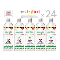 Moda Flame - Moda Flame 1 liter Bio-ethanol Indoor Fireplace Fuel (24 Bottles) - Moda Flame 1 liter Bio-ethanol Indoor Fireplace Fuel (24 Bottles) Moda Flame Moda Fuel burns with an interesting dancing yellow flame with orange and blue accents and lasts longer than any other alcohol fuel on the market. It has the lively look and warmth of a real wood fire, without any soot... or guilt from burning a fuel made from food. No soot, no smoke, no smell, and no residue. The only recycled ethanol fuel available, making it the world's 'Greenest Choice Ethanol'. Fuel (24 Bottles)