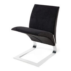 Zuri Furniture - Black Microfiber Bouncy Dining Chair - The name says it all. The whimsical Bouncy chairs uniform construction allows it to bounce up and down as you sit in it. Destined to become a conversation piece in any room, the The Bouncy contemporary chair is ideal for residential or commercial use. Features one piece chrome plated steel base, 300 lb. weight capacity, and suede microfiber available in multiple color choices.