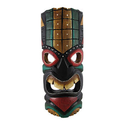 Zeckos - Green and Gold Tiki Mask with Red Eyes and Dot Painted Accents 11 In. - This dark green and gold tiki mask is hand crafted from wood and features bright red accents and a mean look. It measures approximately 11 inches tall, 4 1/2 inches wide, and has a hanger on the back. This mask looks great in your home or on your porch or patio, and it is a must-have for any tiki bar. It also makes a great gift for friends and family.
