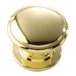 Hickory Hardware - Hickory Hardware 1-1/4 In. Williamsburg Polished Brass Cabinet Knob - Bridges contemporary and traditional design.  Offering a deep rooted sense of history in some, with an updated feel and cleaner lines.  Crate & Barrel and Pottery Barn could be considered transitional looks.