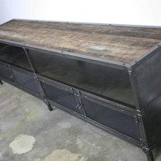 Industrial Living Room by Combine 9 Design, LLC