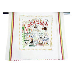 CATSTUDIO - Nebraska State Dish Towel by Catstudio - This original design celebrates the state of Nebraska from Lincoln to Grand Island to Crescent Lake to Carhenge to Omaha! Go Cornhuskers!  This design is silk screened, then framed with a hand embroidered border on a 100% cotton dish towel/ hand towel/ guest towel/ bar towel. Three stripes down both sides and hand dyed rick-rack at the top and bottom add a charming vintage touch. Delightfully presented in a reusable organdy pouch. Machine wash and dry.