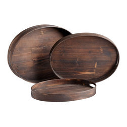 Cyan Design - Oval Dupre Trays-Set of 3 - Oval Dupre Trays -Set of 3  Wood with Charred Pine Finish