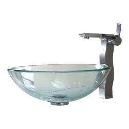 Kraus - Kraus Clear Glass Vessel Sink and Sonus Faucet - Add a touch of elegance to your bathroom with a glass sink combo from Kraus.