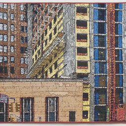 Soft City: Canal Street Construction, Original, Mixed Media - Digitally manipulated photography, inkjet printing on cotton, hand quilting. Anodized aluminum hanging bars included (invisible from front when hung).