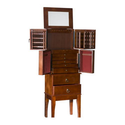 """Holly & Martin - Holly & Martin Isabella Cherry Jewelry Armoire X-50-3-630-231-75 - If you are looking for a way to organize your large jewelry collection in style, this rich cherry jewelry armoire is the solution. Lift the top to reveal a large mirror, perfect for accessorizing. The top section swings open to reveal racks to hang 50 pairs of earrings on each door and 10 flat hooks capable of holding multiple necklaces or bracelets. Along the bottom, two drawers provide ample storage room for larger items. Easily assembled, attaching the legs and top lid are all that is required before use.  - 16"""" W x 11"""" D x 44.5"""" H                                                                               - 1st drawer - has six dividers                                                                         - 2nd drawer - has four dividers                                                                        - 3rd through 5th drawers - has no dividers                                                             - 2 large bottom drawers have no dividers                                                               - Traditional cherry finish                                                                             - Assorted hooks and storage for all jewelry                                                            - Felt lining                                                                                           - Assembly required"""