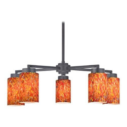Design Classics Lighting - Black 5-Light Modern Chandelier with Art Glass - 590-07 GL1012C - Contemporary / modern matte black 5-light chandelier with cylinder glass shades. Includes one 6-inch and three 12-inch down rods that allow this chandelier to hang at a minimum height of 17-3/4-inches up to a maximum of 53-1/8-inches. Takes (5) 100-watt incandescent A19 bulb(s). Bulb(s) sold separately. UL listed. Dry location rated.