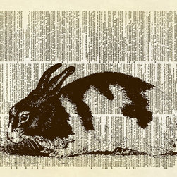 Altered Artichoke - Black and White Bunny Dictionary Art Print, Sepia - This print features an sweet antique illustration of a black and white spotted bunny rabbit. He would look lovely in just about any room of your house or office.