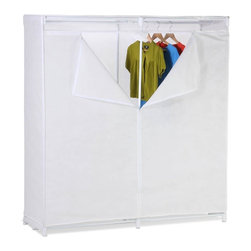 """Honey Can Do - 60"""" White Storage Closet - White plastic base pieces. Cover:70g non-woven, white. Clear PE window. 59.8 in. x 19.7 in. x 63 in."""