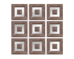 Bassett Mirror - Bassett Mirror Danby Wall Mirror - Muted wood tones and geometric repetition turn this modern wall mirror into a work of art. Surround it with paintings or photographs to turn an ordinary hallway into a full-fledged gallery of art.