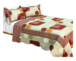 Blancho Bedding - [Enthusiasm Art] Cotton 3PC Printed Patchwork Quilt Set (Full/Queen Size) - Set includes a quilt and two quilted shams (one in twin set). Shell and fill are 100% cotton. For convenience, all bedding components are machine washable on cold in the gentle cycle and can be dried on low heat and will last you years. Intricate vermicelli quilting provides a rich surface texture. This vermicelli-quilted quilt set will refresh your bedroom decor instantly, create a cozy and inviting atmosphere and is sure to transform the look of your bedroom or guest room. Dimensions: Full/Queen quilt: 90 inches x 98 inches  Standard sham: 20 inches x 26 inches.