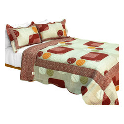 Blancho Bedding - [Enthusiasm Art] Cotton 3PC Plaid Printed Patchwork Quilt Set (Full/Queen Size) - Set includes a quilt and two quilted shams (one in twin set). Shell and fill are 100% cotton. For convenience, all bedding components are machine washable on cold in the gentle cycle and can be dried on low heat and will last you years. Intricate vermicelli quilting provides a rich surface texture. This vermicelli-quilted quilt set will refresh your bedroom decor instantly, create a cozy and inviting atmosphere and is sure to transform the look of your bedroom or guest room. Dimensions: Full/Queen quilt: 90 inches x 98 inches  Standard sham: 20 inches x 26 inches.