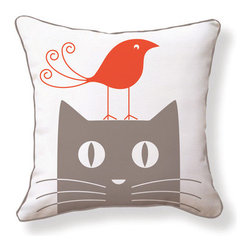 """Naked Decor - Cat and Bird Double Sided Cotton Pillow - Features: -Color: Red / Grey / White. -Material: 100% Cotton canvas. -Poly-filled. -Enclosure zipper. -Hand / Machine cold wash. -Made in USA. Dimensions: -18"""" H x 18"""" W x 4"""" D, 2 lbs."""