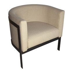 Noir - Noir - Lisbon Club Chair - Modern inspired three leg bucket chair.  Severe basic metal frame contrasts with delicate Upgraded Linen upholstered seat.