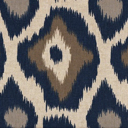 Close to Custom Linens - 50W x 72L Shower Stall Curtain, Lined, Adrian Indigo Blue Taupe Beige Geometric - Adrian is a contemporary medium scale geometric in blues and taupe on a neutral beige linen-textured background. Reinforced button holes for 8 curtain rings.