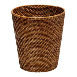 Kouboo - Round Rattan Waste Basket, Honey-Brown - A coastal touch for any bedroom, office or bathroom, this honey-brown rattan waste basket is hand woven from rattan in Hapao style. Hapao refers to the technique of alternating the color from a light natural to dark mocha when weaving the rattan peel over the rattan vine.1 year limited warranty.
