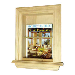 None - In the Wall Magazine Rack - Keep your favorite publications organized with this wall-mounted magazine rack. This rack has an adhesive back that simplifies the installation process. Its solid pine color makes it easy to match, and its wood construction ensures its longevity.