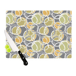 """Kess InHouse - Julia Grifol """"Simple Circles in Grey"""" Cutting Board (11"""" x 7.5"""") - These sturdy tempered glass cutting boards will make everything you chop look like a Dutch painting. Perfect the art of cooking with your KESS InHouse unique art cutting board. Go for patterns or painted, either way this non-skid, dishwasher safe cutting board is perfect for preparing any artistic dinner or serving. Cut, chop, serve or frame, all of these unique cutting boards are gorgeous."""