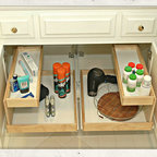 Bathrooms - Bathroom vanities are notoriously disorganized places. But you can store your bathroom supplies in a neat and clean environment with just a few Glide-Outs.  Hi! I'm Elizabeth Beach Hacking of ShelfGenie MA (S. Shore, N. Shore, Metro West & Cape Cod). Call me at: 646-944-8599 to find out how we can fit your bathroom with space saving Glide-Outs.  Receive $100 off your custom order,  just by mentioning Houzz.