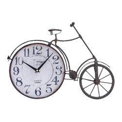 "Benzara - Metal Bicycle Clock 17""W, 12""H - Size: 17 Wide x 1 Depth x 12 High (Inches) ; Material: Premium grade metal alloy ; Color: Antique Black-brown ; Quartz wall clock; Maintenance free; Rough; Vintage class wall decoration; Impressive affordable gift"