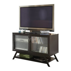 Bush - Bush Canted Style TV Stand For Flat Panel TVs in Macchiata Coffee - Bush - TV Stands - UR8094203 - Form meets function. This contemporary TV stand uses sleek canted legs attractive pebbled glass inserts and modern brushed nickel hardware to cleverly disguise an abundance of space for storing components magazines e-Readers and more. Accommodates flat-panel televisions up to 42 inches. Made with high quality materials and wood veneers.