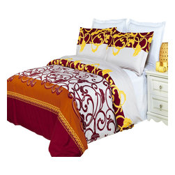 Bed Linens - Mission Printed Multi-Piece Duvet Set Full/Queen 4PC Comforter Set - Enjoy the comfort and Softness of 100% Egyptian cotton bedding with 300 Thread count fiber reactive prints.*100% Egyptian cotton *300 Thread count *Reactive Print, lasts longer and looks like real live pictures .