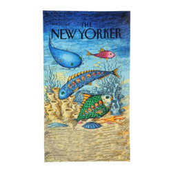 "Grandin Road - The New Yorker Fish With People Beach Towel - Large, whimsical beach towel featuring the ""Fish with People"" cover from The New Yorker magazine. Made of 100% ring-spun cotton, woven to 450 gsm. Generous 40"" x 70"" size. Reverses to a solid-color back. Preshrunk cotton ensures towel retains its full size. Take a vintage cover from The New Yorker to the beach, in the form of a soft terry cloth towel, featuring the ""Fish with People"" cover from March 23, 1992. Artist John O'Brien's whimsical underwater scene depicts a school of swimming fish filled with people, like airplanes or buses. Make this generously sized, soft and colorful terry towel your mark on the sandy shore - you'll always be able to find your spot on the beach. Check out the other designs in The New Yorker Beach Towel collection.. . . . . Double-stitched along all edges for durability. Machine wash cold, tumble dry low. Wash with like colors in cold water; do not bleach. Imported."