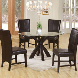 """Coaster - Mix & Match 5 Pcs Round Glass Dining Set - This group offers clean lines, sleek and comfortable seating, and a deep cappuccino wood finish that is sure to complement your decor. Mix and match the tables and chairs to fit your space to accommodate family and friends in your stylish and welcoming dining room. Vinyl Cushion Seating; Cappuccino Finish; Contemporary Style; Set Includes: Dining Table, 4 Chairs. Table Base: 32.50""""L X 32.50""""W X 30""""H; Beveled 48"""" Glass Top: 48""""L X 48""""W; Chair: 24""""L X 20""""W X 39""""H; Seat Height: 18""""; Seat Depth: 17.25""""."""